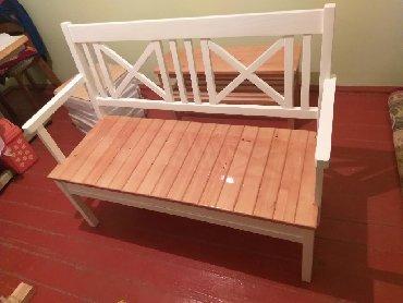 Стильная скамейка для сада, кухни можно использовать в террасе. Массив