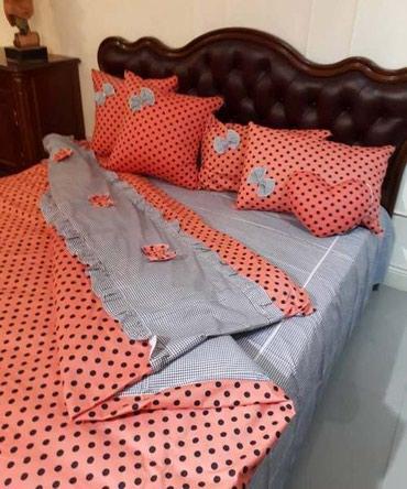 декоративные наволочки на подушки в Кыргызстан: Постельное белье- 7 предметов -простынь+пододеяльник+2 наволочки 70 см