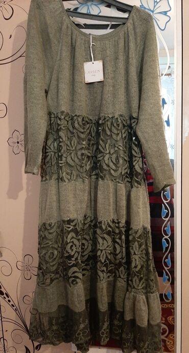 хб платье в Кыргызстан: Платье италия на осень рукава застегивается. Цвет хаки внутри хб