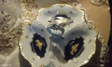 Velika porcelanska posuda za posluzenja,kobalt,peceno zlato,porcelan - Beograd