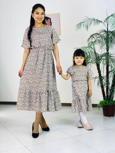 Мама+ дочка Ткань; софт Размеры; мама 46-52 Дочка 6 лет Цена:1350 сом