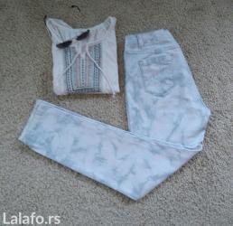 Pantalone struk elastina - Srbija: Odlicne uske pantalone bele sa plavim dim (smoke) sarama ili plave sa