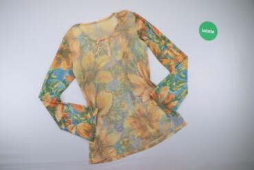 Рубашки и блузы - Цвет: Голубой - Киев: Жіночий лонгслів з квітковим принтом    Довжина: 69 см Ширина плечей