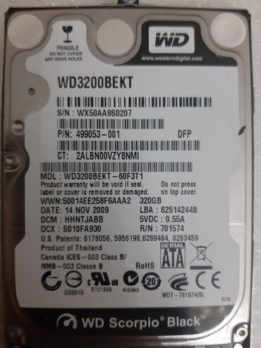xarici sert disk - Azərbaycan: 320gb Harddisk laptop üçün WD Scorpio Black WD 320BEKTModeli Üzərində