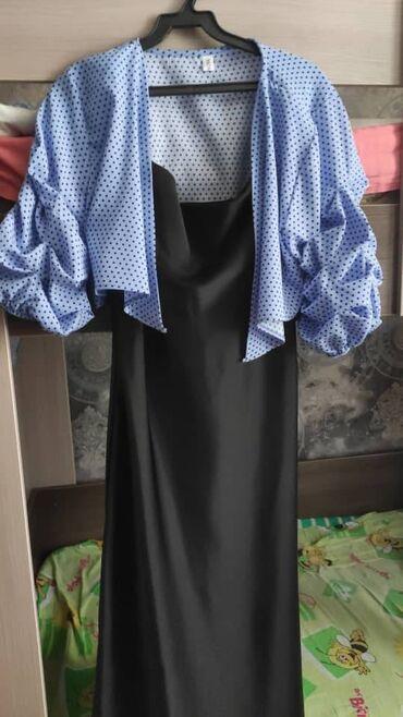 Личные вещи - Орловка: Продаю платья очень красивые на 46-48 размер. Платье черное атласное (