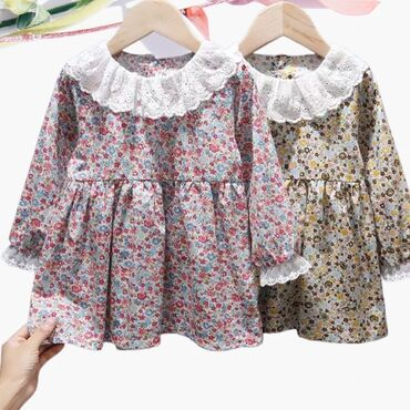 Платья из хлопка с кружевным воротом и манжетами