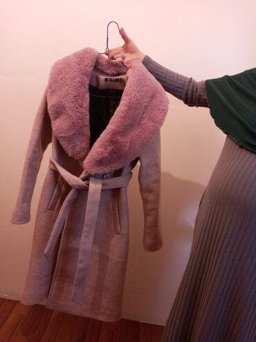 фиолетовое платье в пол в Кыргызстан: Продаю польто розовый кашемир размер 44 46 в отличном состоянии цена
