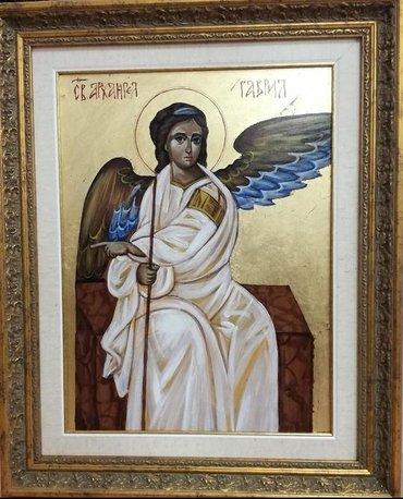 Ikone - Beograd: Ikona, Beli Anđeo, ručno oslikana i pozlaćena, nije štampa, na