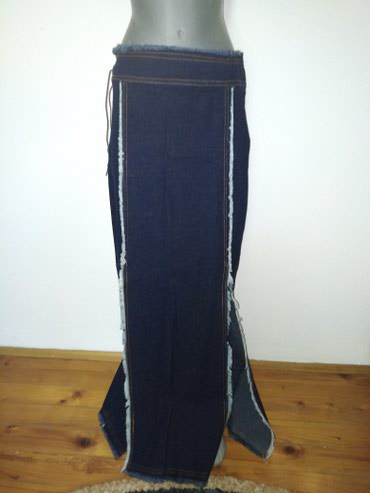 Duga teksas suknja sa dva izreza na sredini napred, br 40. Moguća - Petrovac na Mlavi