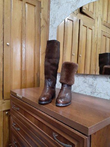 сапоги-кож-зим в Кыргызстан: Продаю зимние сапоги коричневого цвета производства Италия натуральная