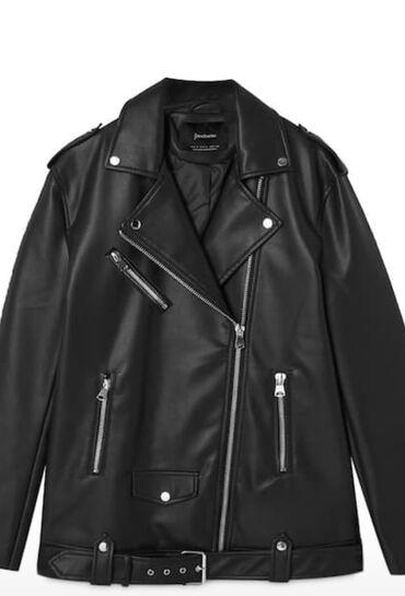 Женская кожаная куртка кожанка  Oversize  Stradivarius - размер L (Т