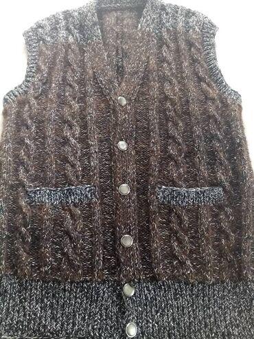 старорусская одежда мужская в Кыргызстан: Жилет мужской ручной вязки, новый, из собачьей шерсти, теплый и