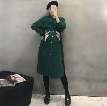 Платья - Кыргызстан: Продаётся новое платье-рубашка, в трендовом зелёном цвете! Пуговицы ра