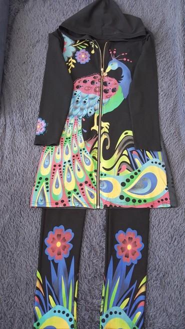 турецкий домашний халат в Кыргызстан: Домашний костюм халат+лосины хб в отл состоянии цена 500сом
