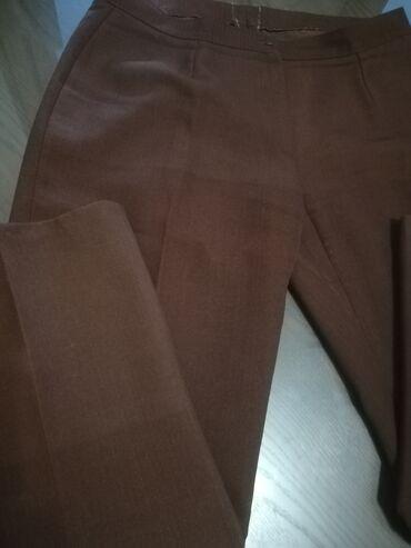 Braon deblji saten - Srbija: Pantalone braon boje šivene, na crtu vel 3XL, deblji materijal, obim