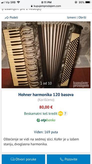 Harmonike - Srbija: Hohner harmonika 120 basovaOštećenje se vidi na sedmoj slici. Kofer je