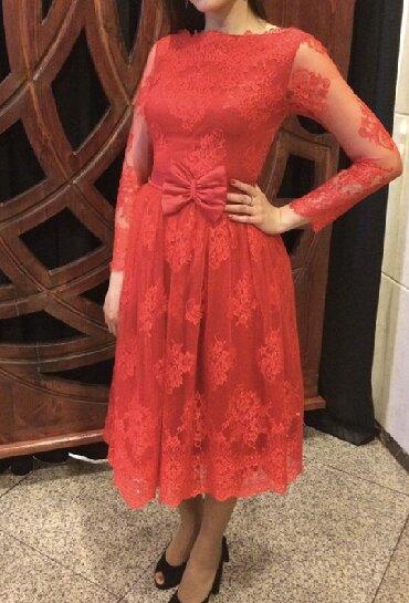 вечернее платье ниже колен в Кыргызстан: Платье алое из кружева с ремнем.Очень нежное и элегантное. Подойдет