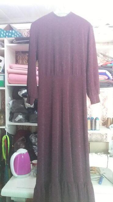 Женская одежда - Джал: Новое. Платье (цвет бордо, трикотаж) размер 46. За 700 сом