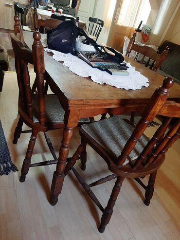 10086 oglasa: Sto i 6 stolica staro puno drvo ocuvano.cena dogovor