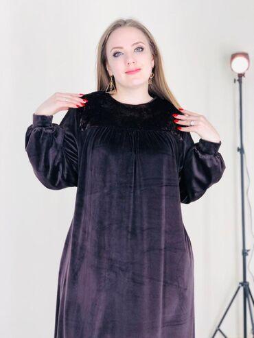Платье ТрапецияТкань Королевский ВелюрРазмеры 54 56 58 60Цена 2300 сом