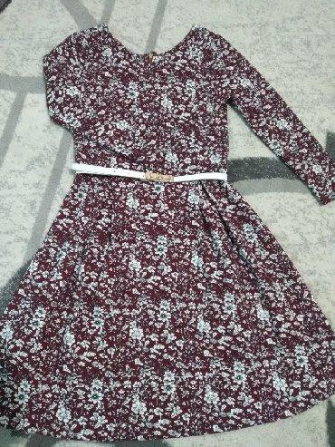 бордовый замшевый в Кыргызстан: Турецкое платье, размер 44-46, цвет бордовый с белым, ткань мягкий