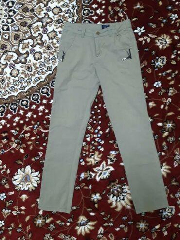 Мальчиковые брюки 10-12 лет, серые, 100% хлопок, 200 сом