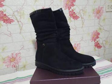 Зимние сапоги. Чёрные, замшевые, 39 размер. Новые, не подошли по