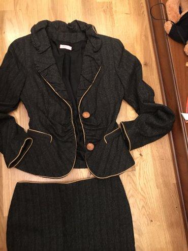 Шикарный теплый костюм италия! ращмер 40/42 окантовано кожей! в Бишкек