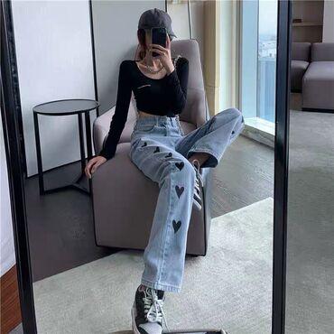 Очень крутые новые джинсы с сердечками  Размер L  Цена 1300 сом  Дост