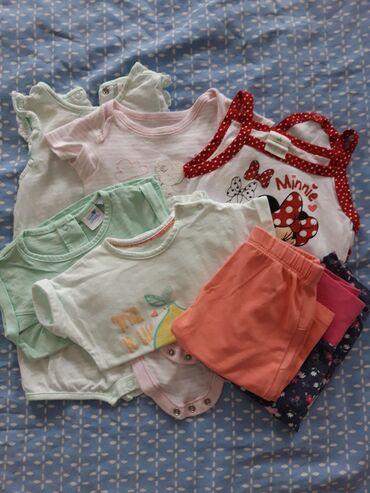 Pantalonice - Srbija: Paket odece vel. 68, 3 bodica, dve majice i dvoje pantalonica