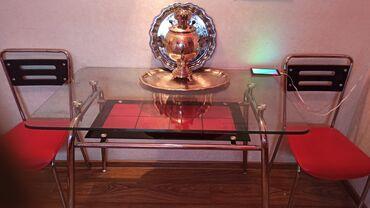 кухонный стол стулья в Кыргызстан: Стол кухонный 65*110 . Стекло. 2 стула к нему. Брали за 350$! В