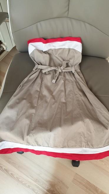 Top haljina, veličine XS, boje bež sa crvenim i belim prugama,malo - Bor