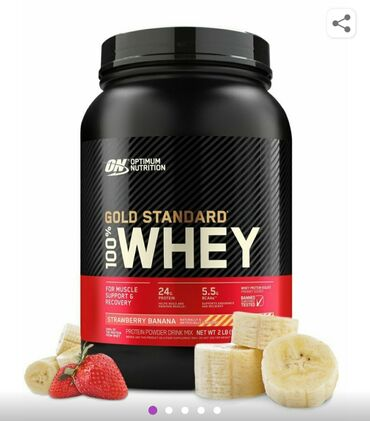 протеин для сушки в Кыргызстан: Протеин Gold Standard 100% Whey 2 lb (907 г), Клубника-банан. Optimum