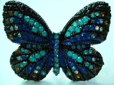 Великолепная бабочка кольцо Стразы Размер - 4.5*3.8 см Безразмерное