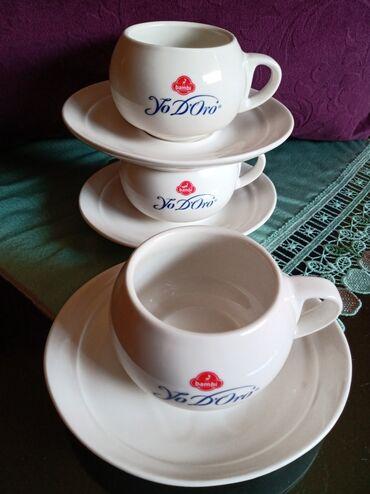 Porcelan - Srbija: Solje nove za kafu,pun porcelan. Komada 3. Tacne zbog