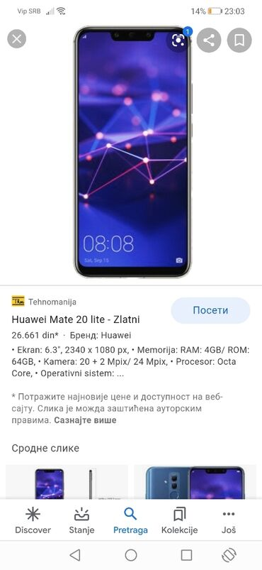 Huawei honor 6 - Srbija: Huawei mate 20 lite 64/4 Niš samo licno preuzimanje zamene Huawei p20