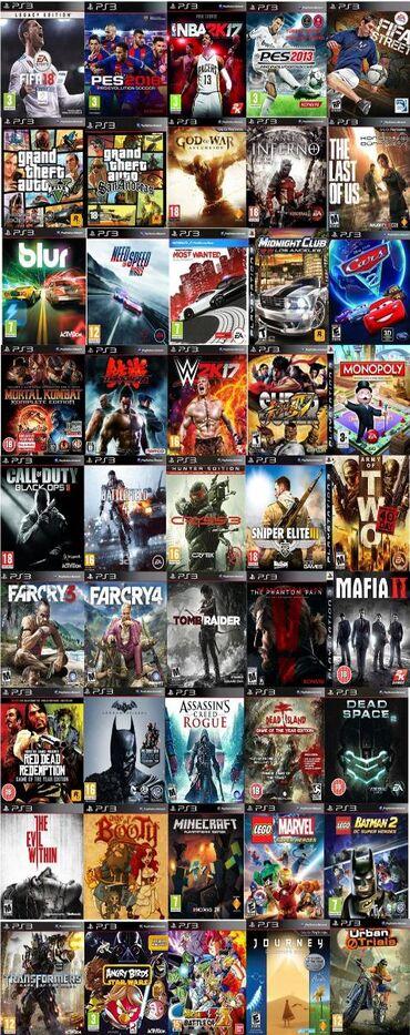 PS3 игры(Blur,Gta5,LEGO, 500-den çox oyunlar var)