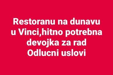 Restoranu na dunavu u Vinci,hirno potrebna zena  devoka za rad,sa - Belgrade