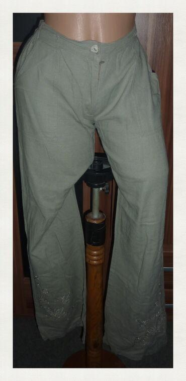 Lanene pantalone - Srbija: CHOCO CHIC ZELENE LANE NE PANTALONE VEL 46struk 39cm-46cmbokovi