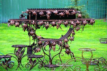 Кованный мангал, подставки под цветы, печь для казана, декор сада и