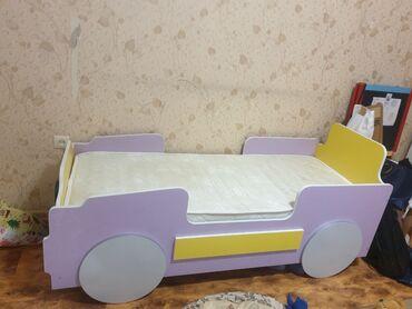 биндеры 160 листов для дома в Кыргызстан: Детская кровать машинка с матрасом, размер 70×160