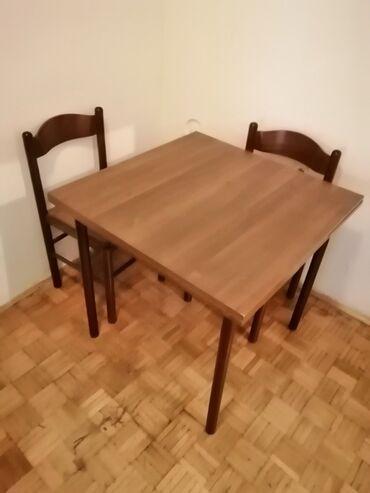 Tableti - Srbija: Sto sa 2 stolice, 80x80,u dobrom stanju, za više informacija pozovite