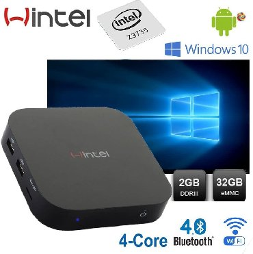 Wintel W8 Windows + android sistemli tv box Quad Core 64Bit 2.4Ghz