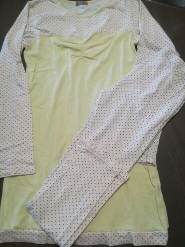 Ostala dečija odeća   Vranje: Pamučna žuta pidžama vel 12, obim struka 40 cm, dužina 72 cm, obim
