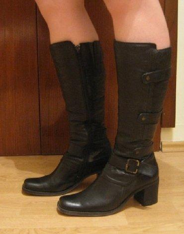 Prelepe crne kožne čizme, veličina 38 - Kragujevac