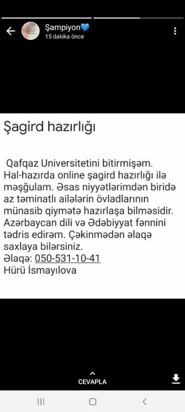Digər xidmətlər - Azərbaycan: Şagird hazırlığı