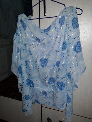 свободная рубашка в Кыргызстан: Лёгкая свободная блузка с открытыми плечами 44-46 размер