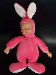 Roze pamuk - Srbija: Novo! Uspavana beba-zeka (27cm) - u roze odeći. Ruke, noge i telo su