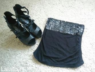 Sako crne boje - Srbija: Tally Weijl Crni elegantni top majica sa krljuštima. Intezivno crne