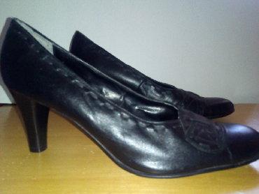 Crne kozne cipele,novenenosene,broj 41.Visina potpetice 8 cm - Jagodina